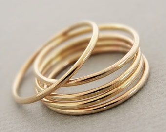 Midi Rings Super Thin Gold Rings smooth stack ring - above the knuckle rings, midi rings or thumb rings