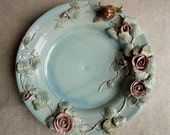 Light blue stoneware Dish - The rosebush  and the snail - from a H.C. Andersen tale