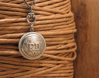 Button Jewelry - Fire Department Jewelry - Silver FD Button Pendant Necklace - Remembering 911 - Fireman