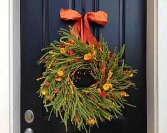 Summer Fall Wreaths, wreaths, door wreaths, outdoor wreaths, fall door wreaths, Orange Ribbon
