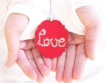 DIY Love Ornament Kit, Valentines Day, Present Hang Tag, Cross Stitch Ornament DIY, Love Cross Stitch, Holiday Ornament