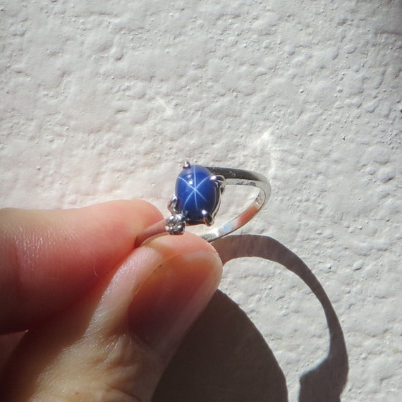 Blue Star Sapphire Vintage Ring 10k White Gold With Diamond