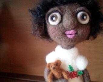 African American CHRISTMAS Girl OOAK Art Doll