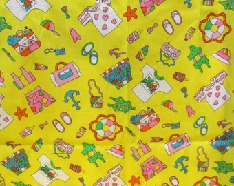 Children Novelty Print Fabric 1.5 yd Remnant Summer Beach Bathing Suit Bright Color Yellow Childs Room Sundress Fat Quarter Kawaii Applique