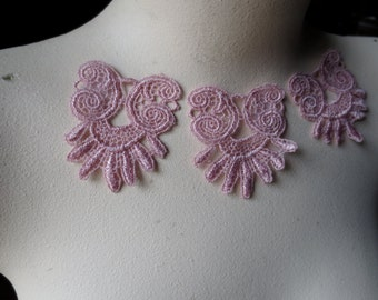 3 PINK Lace Appliques in Rose Pink Venise Lace for Lace Jewelry or Costume design