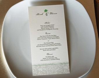 "Posh Palm Tree Design - Tea Length Flat Wedding Dinner Menu - 4 x 9"""
