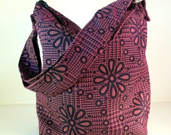 BUCKET BAG Raspberry and Black. Woman's bag. crossbody bag. shoulder bag. Adjustable strap. Travel bag. Messenger bag. Made in America