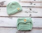 Newborn Baby Boy Hat & Diaper Cover Set Mint Green