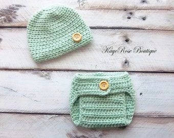 Newborn Baby Boy Hat & Diaper Cover Set Mint Green