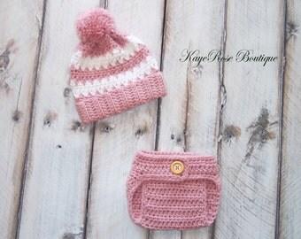 Newborn Baby Girl Pom Pom Hat and Diaper Cover Set Mauve and White Stripes