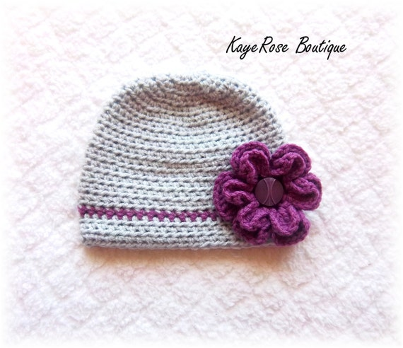Reserved For Angela Baby Girl Crochet Flower Hat Gray and Purple