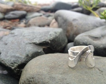 Silver Wave Ring, Triple Wave Ring, Three Bands made with Sterling Silver - Wave Ring Collection