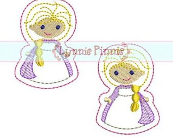 Winter Queen FELT CLIPPIES 4x4 Machine Embroidery Design felties clips princess