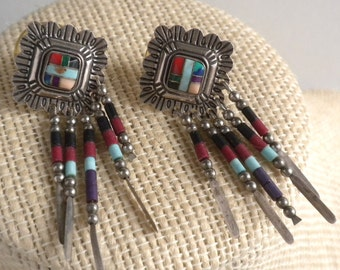 Zuni Native American Indian Sterling Silver Inlaid Earrings - Signed QT - Turquoise Spiny Oyster Coral,