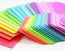 Set of 20 Neon Brights Rainbow Mini Note cards and Envelopes
