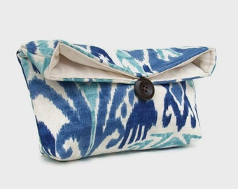 Dark Blue, Light Blue Ikat Clutch Purse, Bridesmaid Gift, Travel Makeup Bag, Gift for Her, Mom, Girlfriend, Wife