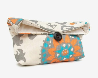 Orange, Aqua Blue, Light Gray and Natural Ivory Clutch Purse, Cosmetic Makeup Bag,Travel, Bridesmaid Gift, Floral Clutch, Under 25