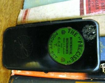 vintage office funk ...  The PRECISE brand Mathematical Instrument set tin metal GEOMETRY Set  ...