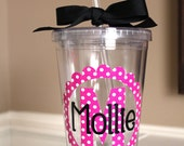 Personalized Acrylic Tumbler 16 oz with Polka Dot Initial and Name