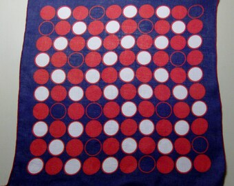 Navy Handkerchief with Red and White Circles