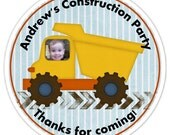 Construction Birthday Labels, Personalized Construction Stickers, Construction Favors, Construction Birthday Party Favors