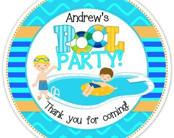 Pool Party Stickers, Birthday Labels, Personalized Boy Pool Party Stickers, Birthday Decoration, Boy Pool Party Favors, Swimming Pool Favors