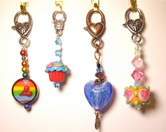 15% OFF SALE --- Choice of Zipper Pull with Lampwork Glass Beads