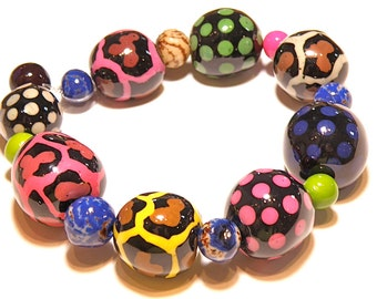 25% OFF SALE ---- Strand of Funky Hand-Pained Animal Print Tagua Nut Beads from Colombia
