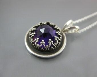 amethyst gemstone in sterling silver setting, purple amethyst necklace, gemstone pendant, silver necklace, silver and amethyst