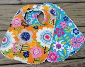 Set of 2 Great Baby Girl Bibs, Modern Floral, Chenille Back, Snap Closure