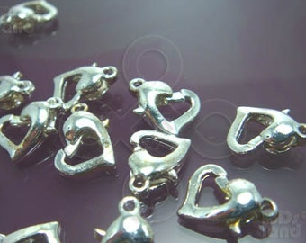 clearance -50% / B128SP / 12Pc / 12.5mm x 10 mm - Silver Plated Heart Shape Lobster Clasp / Parrot Hook Findings