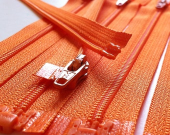 3mm Nylon Coil YKK Separating Zippers Color 006 Orange- 5pcs- Available in 5,6, and 7 Inch