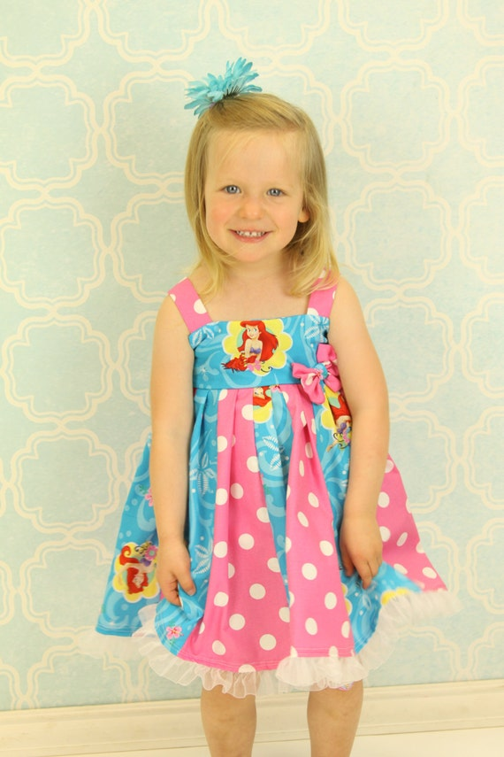 custom boutique dress made with little mermaid fabric  size 2-6