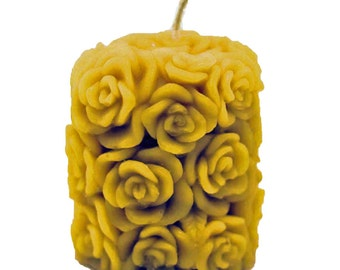 "Organically Managed Beeswax Candle Pillar -- Too Many Roses 3"" x 2.5"""