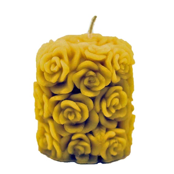 """Organically Managed Beeswax Candle Pillar -- Too Many Roses 3"""" x 2.5"""""""