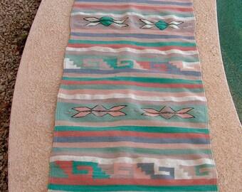 Vintage Zapotec Mexican Rug Coral Teal Blue Grey Rug