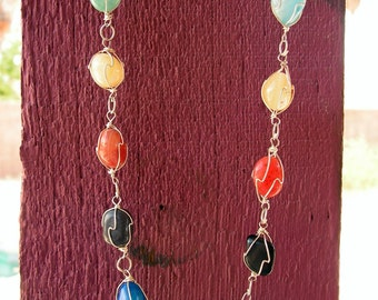 Mexican Silver Wire Wrapped Semi Precious Multi color Stone oho Necklace Multicolor Polished Gemstones