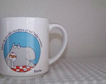Vintage Sandra Boynton Hippo Coffee Cup--Mug--Ceramic--Hot Fudge Sundaes--Made in Japan--Humorous--Cottage Chic