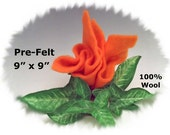 "Dream Felt's TANGERINE ORANGE Merino Pre-Felt 9"" x 9"" 100% Wool Fabric Perfect for Needle Felting"