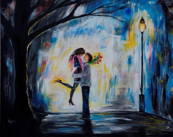"""Couple In Love Couple Roses Couple Hugging Street Light Romance Romantic Painting Print """"Hello Babe"""""""
