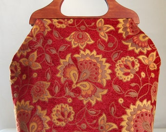 Fabriano Sangria Chenille Large Craft Project Tote/ Knitting Tote Bag - READY TO SHIP