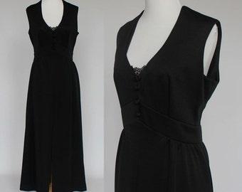 70's Empire Waist Maxi Dress / Sleeveless / Black Double Knit / Long / Medium
