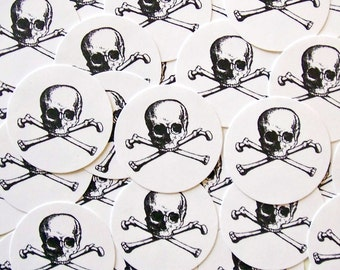 Halloween Goth Wedding Pirate Stickers Skull Bones Party Favor Treat Bag Sticker SPH006