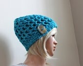 Peaky Beanie in Aqua Sparkle with Exclusive Handmade Button