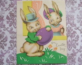 Vintage 1930s Bunny Rabbits Easter Card