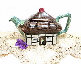 Thatched Cottage Ware Teapot John Maddock England Hand Painted Engraved 1960s Vintage