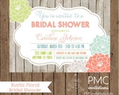 Custom Printed Rustic Modern Floral Bridal Shower Invitations - 1.00 each with envelope