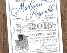 Blue Vintage Antique Baby Buggy Baby Shower Invitations - 1.00 each with envelope