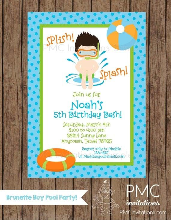 Custom Printed Brunette Boy Pool Party Birthday Invitations