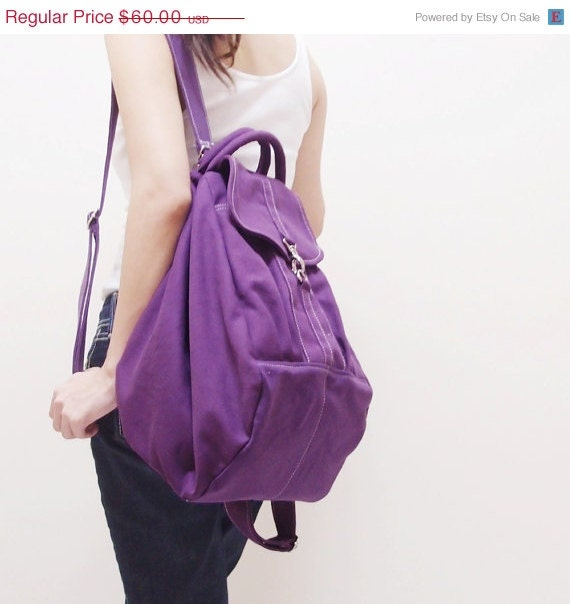 HALLOWEEN SALE - Purple Canvas Women Backpack, Rucksack, Satchels, Messenger, Shoulder Bag, Tote, Hobo, School Bag - ESSENTI